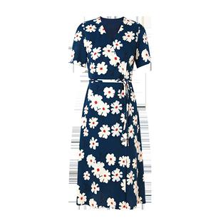 藏藍色小雛菊碎花收腰連衣裙法式復古小眾氣質女神範赫本風圍裹裙