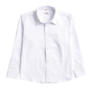 大童白衬衫纯棉长袖宽松加肥演出服