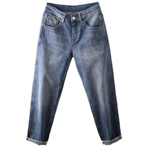 2021年新款春夏宽松直筒高腰牛仔裤