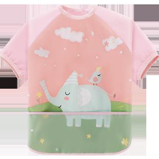 儿童罩衣长袖薄款防水宝宝学吃饭围兜秋冬季小孩画画围裙衣兜兜