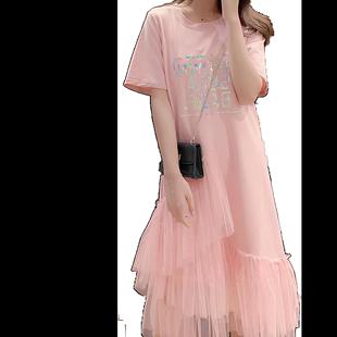 2020女裝韓版甜美仙女裙網紗拼接中長款女學生閨蜜連衣裙假兩件套