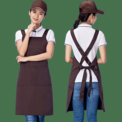 围裙定制logo工作服女餐厅厨房时尚奶茶店美甲订做印字男纯棉防水