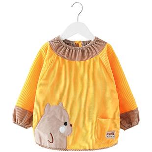 女孩防脏防水长袖吃饭护衣儿童罩衣
