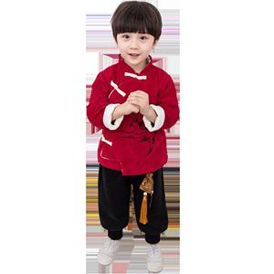 中国风童装拜年服套装男童唐装汉服