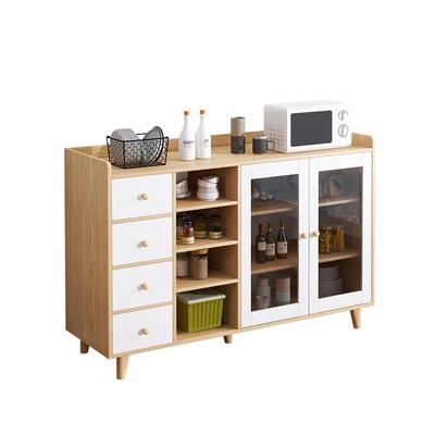 柜子储物柜现代简约橱柜靠墙家用厨房茶水柜微波炉烤箱碗柜餐边柜