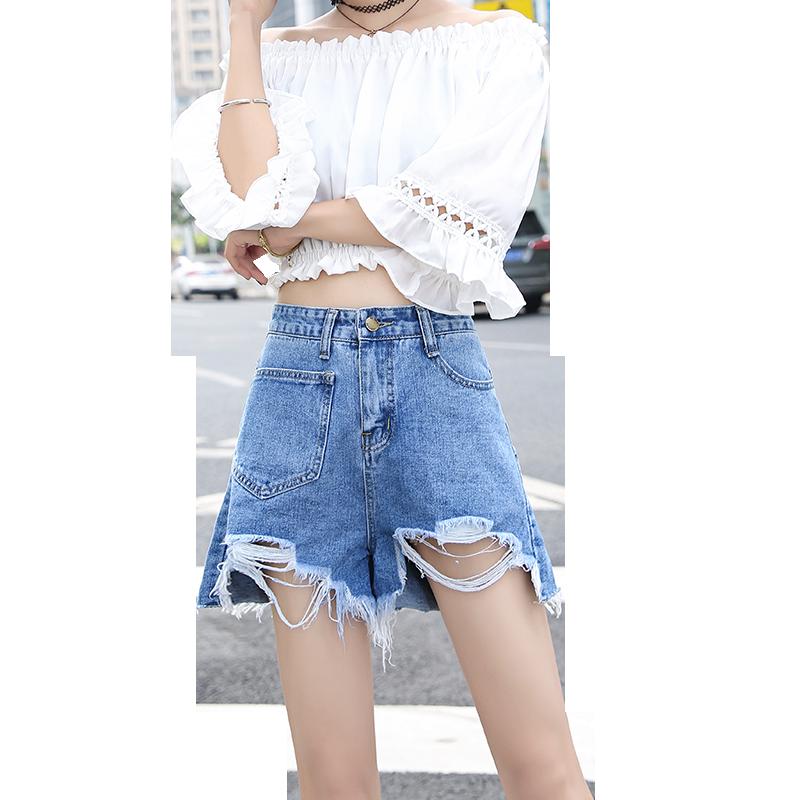牛仔短裤女2019夏季新款阔腿高腰a字短韩版宽松chic热裤学生百搭