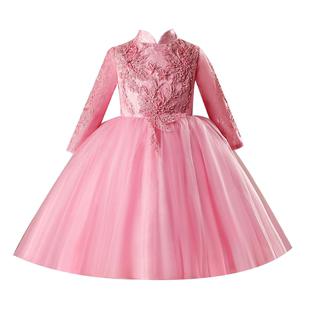 女童生日週歲洋氣禮服公主裙兒童蓬蓬紗小女孩主持演出服花童婚紗