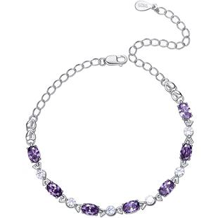 輕奢天然紫水晶手鍊女純銀韓版網紅簡約閨蜜520情侶禮物送女友