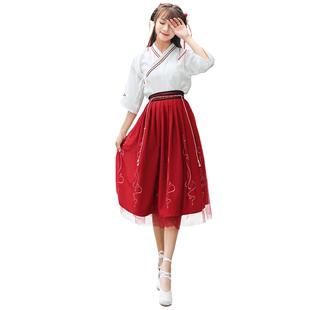 古風改良漢服女裝襦裙日常漢元素民國學生班服中國風古裝春夏套裝