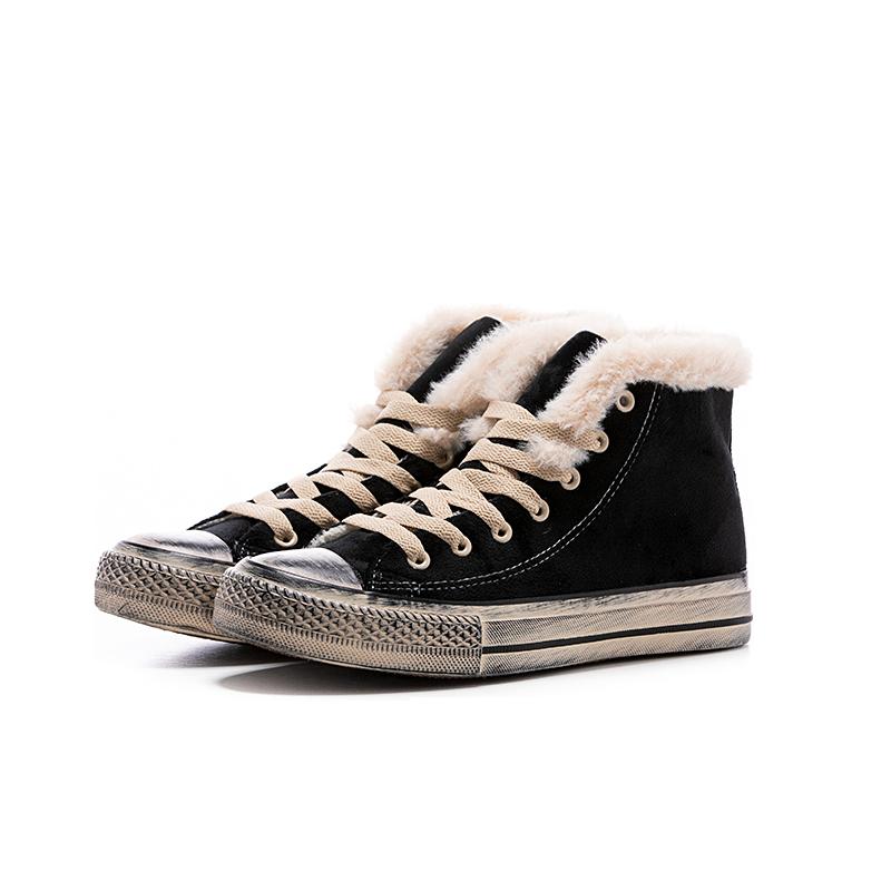 回力  新款冬季高低帮加绒帆布鞋