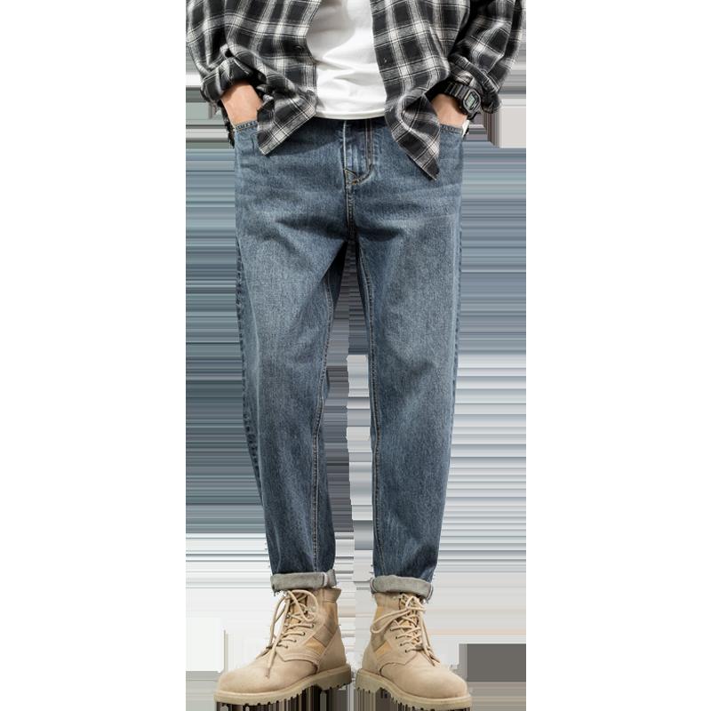 牛仔裤潮牌秋冬韩版潮流直筒宽松男士2020冬装新款加绒休闲长裤子