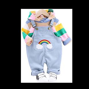 。女寶寶套裝洋氣春裝0-1歲半2嬰兒牛仔3揹帶褲10女童衣服8個月1