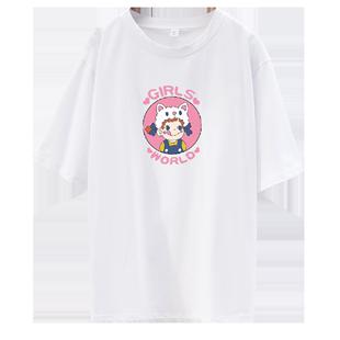 紫色T恤短袖女ins潮2020年新款夏裝韓版寬鬆百搭短款情侶裝上衣服
