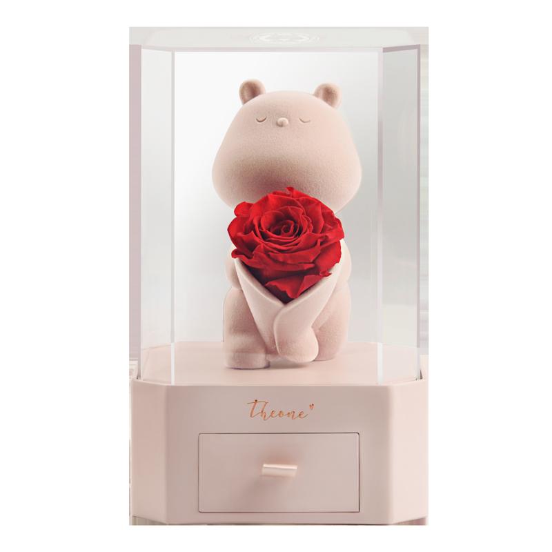 唯忆永生花礼盒玫瑰熊玫瑰花束七夕情人节生日告白礼物送女友闺蜜