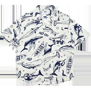 714street男士鯨魚印花夏威夷短袖襯衫春秋半袖襯衣情侶男女國潮