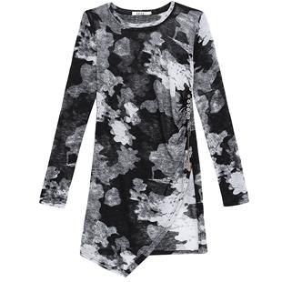 歐洲站時尚印花T恤女裙中長款 2020秋季新款慵懶風修身圓領打底衫