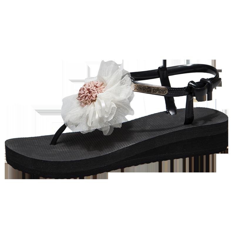 新款花朵凉鞋女士夏季海边中跟韩版时尚百搭波西米亚仙女风沙滩鞋