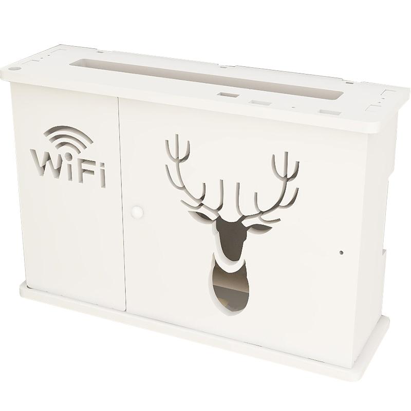 免打孔墙上壁挂机顶盒置物架wifi猫无线路由器收纳盒多媒体箱遮挡