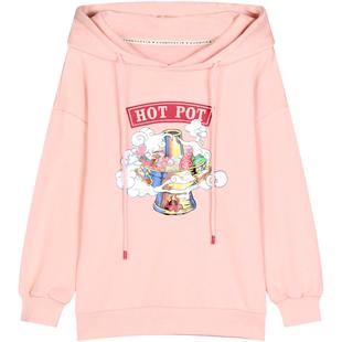 庫恩瑪維2020年新款春秋寬鬆中國風紅色連帽衞衣女薄款粉色上衣