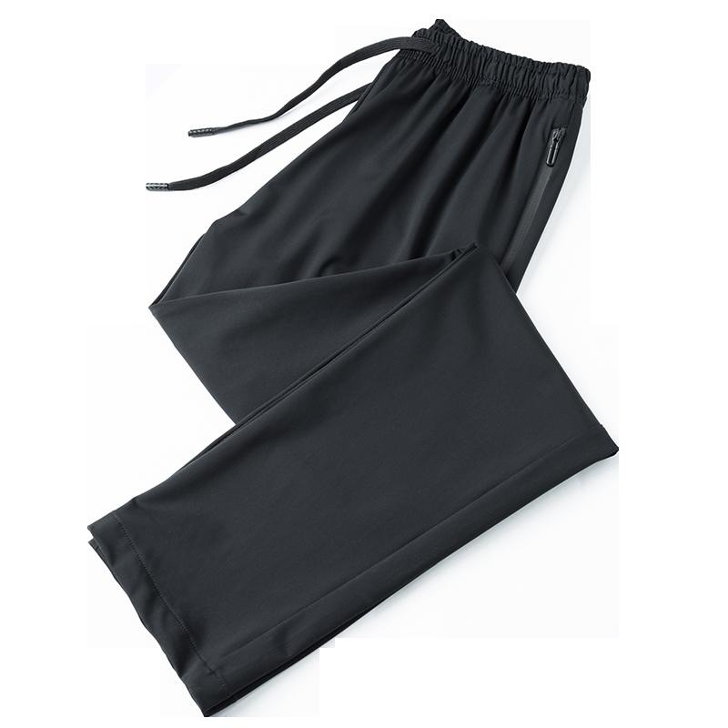 运动长裤男式夏季冰丝弹力宽松速干透气跑步健身直筒休闲运动裤男