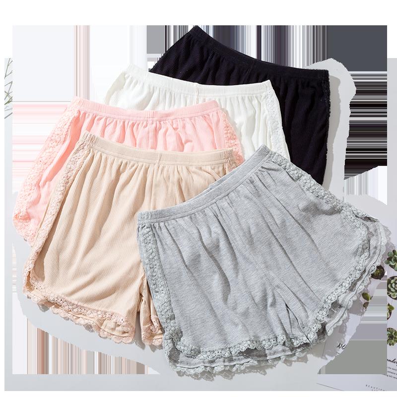 莫代爾安全褲女蕾絲防走光可外穿夏季薄款寬松螺紋不卷邊打底短褲