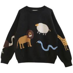 慵懒风6D立体彩色卡通动物毛衣