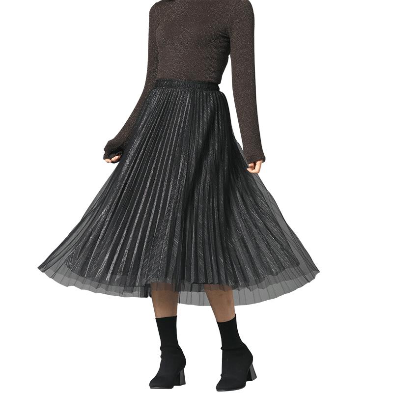 流光亮丝超仙网纱半身裙显瘦垂感女