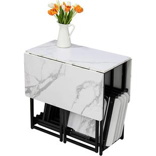 餐桌椅組合小户型現代簡約飯桌客廳仿大理石輕奢家用可摺疊餐桌子