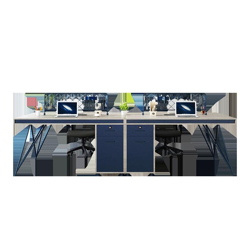 职员办公桌工业风双人财务桌员工桌卡座电脑桌椅组合四六人位家具
