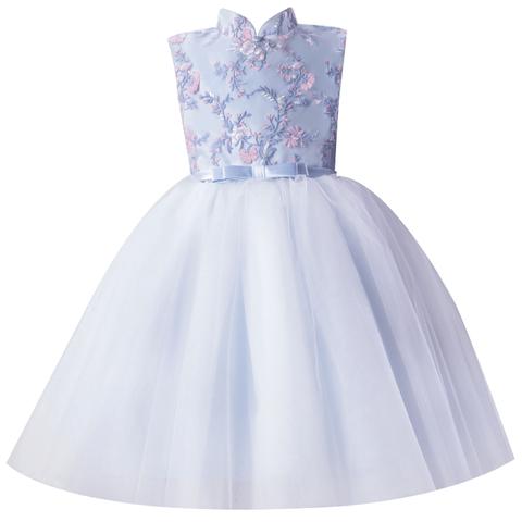 儿童礼服公主裙女童洋气蓬蓬纱中式花童小主持人走秀晚礼服蓝色夏