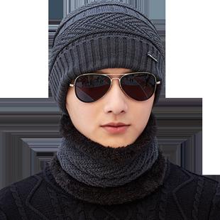 户外男士帽子秋冬季男加绒毛线帽