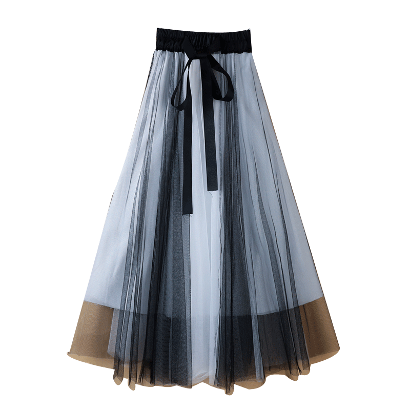 New Winter Pleated Skirt Mid-Length A- line Color Panel Mesh Skirt Drape Veil Women's Bust Was Thin