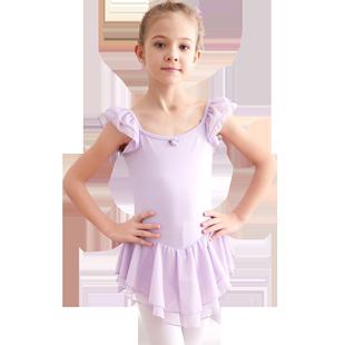 舞蹈服兒童女夏季短袖女孩練功服女童跳舞服幼兒服裝中國芭蕾舞裙