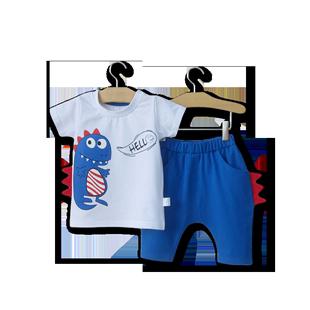 男寶寶夏裝男童0一1歲2-3嬰兒夏天恐龍圖案衣服潮款夏季短袖套裝4