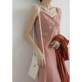 SEA輕奢古着吊帶裙格子復古冷淡風修身露背褶皺長款吊帶連衣裙女