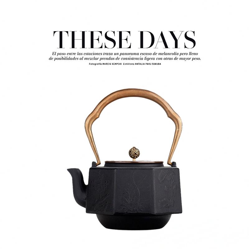 。售楼处博古架软装饰品铁壶摆件中式样板房铸铁茶壶生铁提梁壶茶