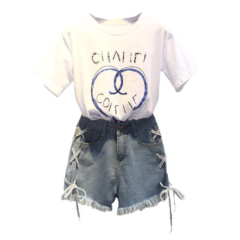 2019夏装新款套装小清新字母印花短袖t恤女高腰牛仔短裤两件套潮