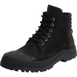 百麗男鞋冬新商場同款牛皮馬丁短靴子保暖高幫加絨裏棉鞋6SG01DD9