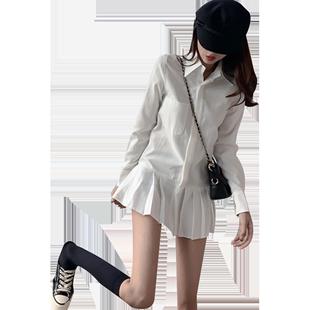 秋冬百褶白色氣質長袖連衣裙女學院風設計感炸街內搭襯衫打底裙子