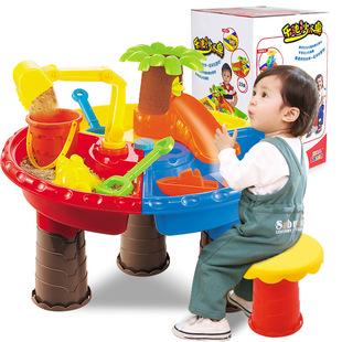沙灘玩具套裝戲水桌寶寶決明子玩水沙子玩具户外室內沙池兒童男孩