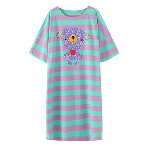 条纹卡通动物夏季短袖纯棉网红睡裙