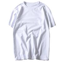 乱步重磅厚实纯棉纯色短袖T恤男女同款全棉圆领打底衫潮白色半袖