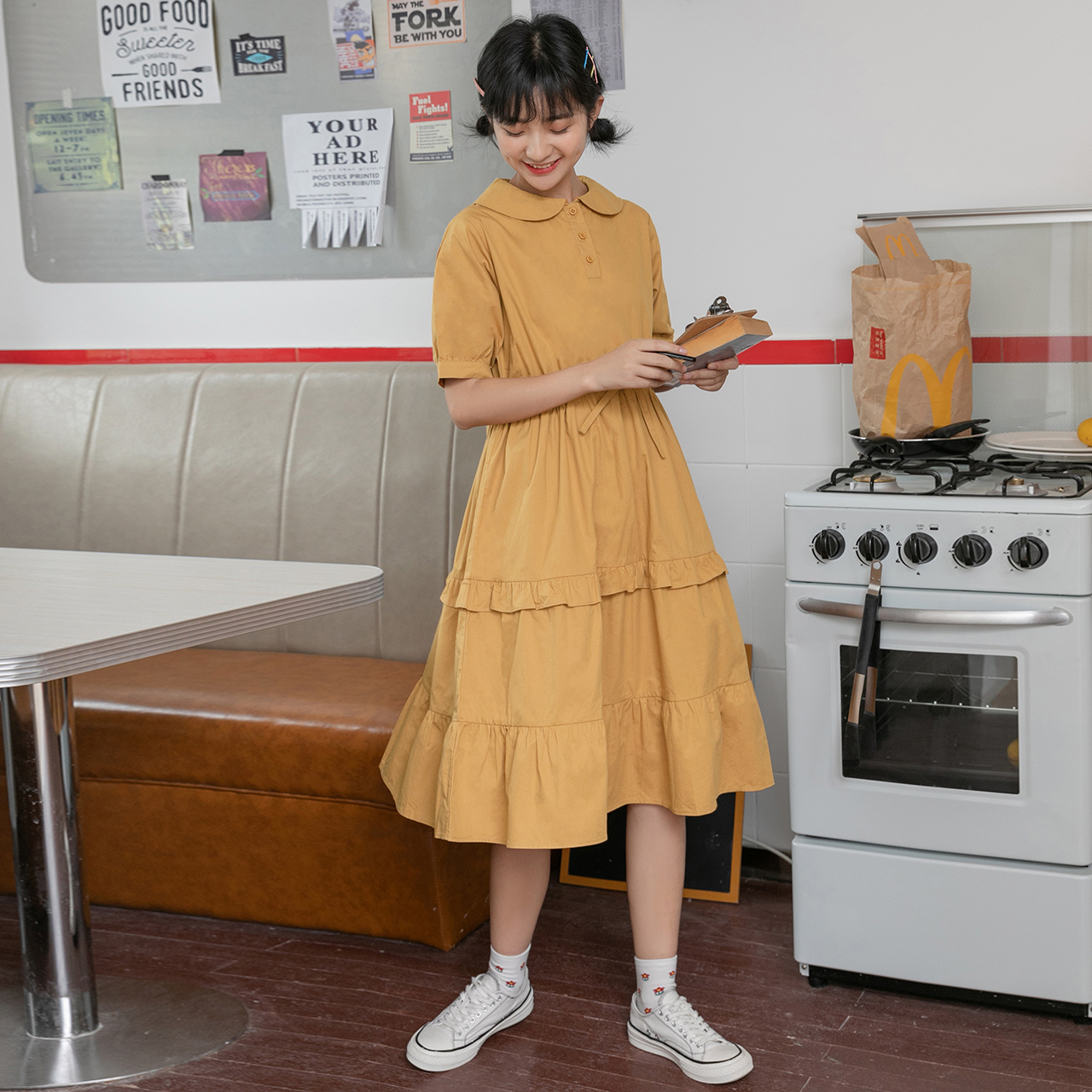 (用216.72元券)中长款桔梗裙复古连衣裙女2019新款夏学生甜美古着感少香料色