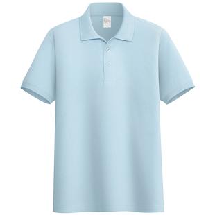 夏季純棉短袖T恤男休閒POLO衫青中年純色上衣女休閒半袖保羅衫
