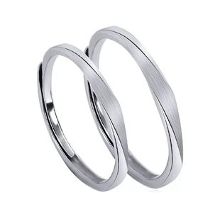ARAI原創小眾情侶戒指純銀簡約設計對戒學生ins潮男女開口一對戒