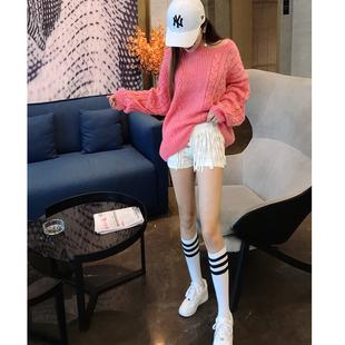秋冬粗麻花毛线衣粉色宽松风羊毛衫