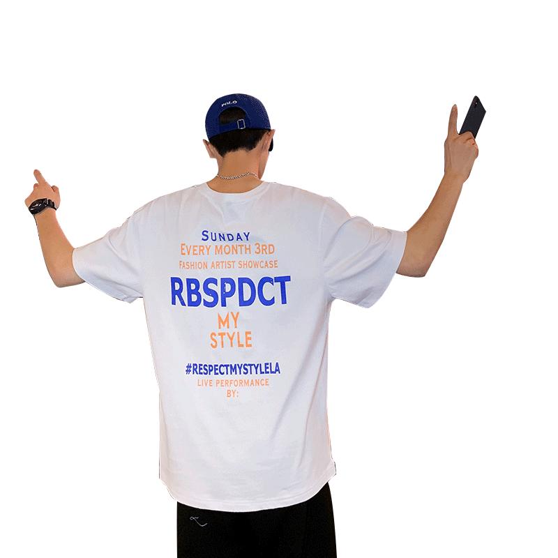男士短袖t恤夏季韩版潮流宽松上衣服潮牌港风体恤ins学生半袖夏装