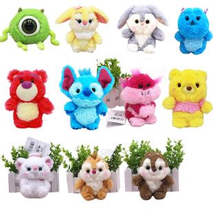 迪士尼維尼小熊公仔史迪仔小掛件邦尼兔毛絨玩具草莓熊鑰匙扣禮物
