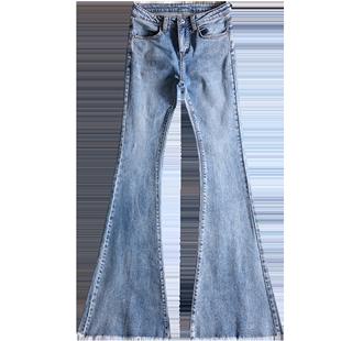 喇叭牛仔褲女2020春秋新款高腰顯瘦緊身復古垂感彈力薄款微喇長褲
