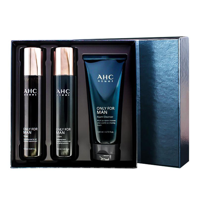 韩国ahc男士护肤品套装水乳三件套盒补水保湿控油学生旗舰店官方